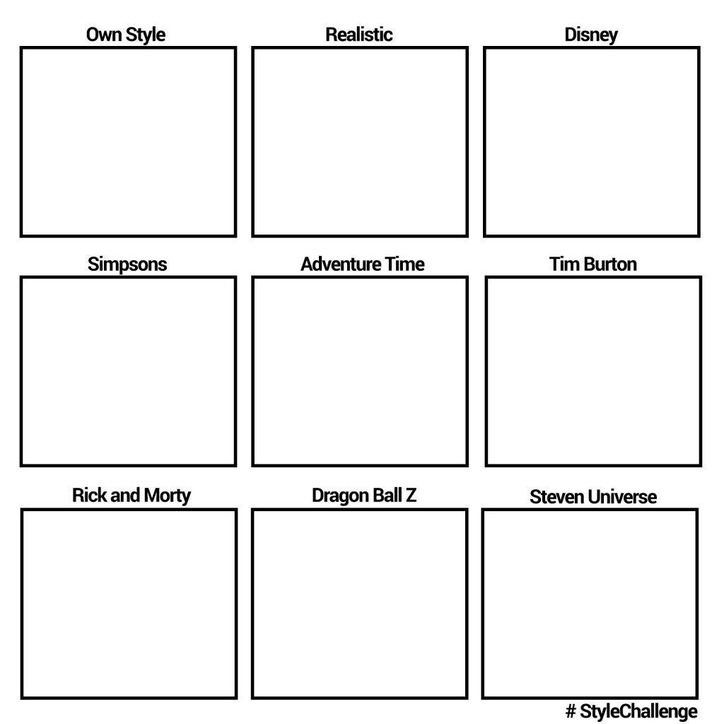 Different Art Styles Challenge Template Brushwarriors