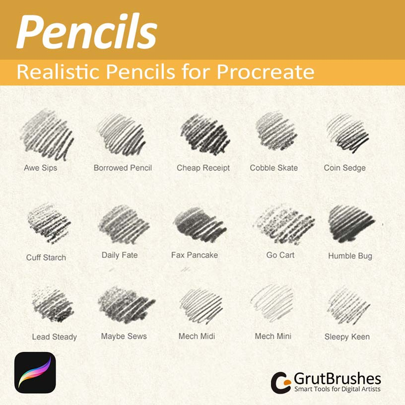 Realistic Pencil brushes by GrutBrushes Samples